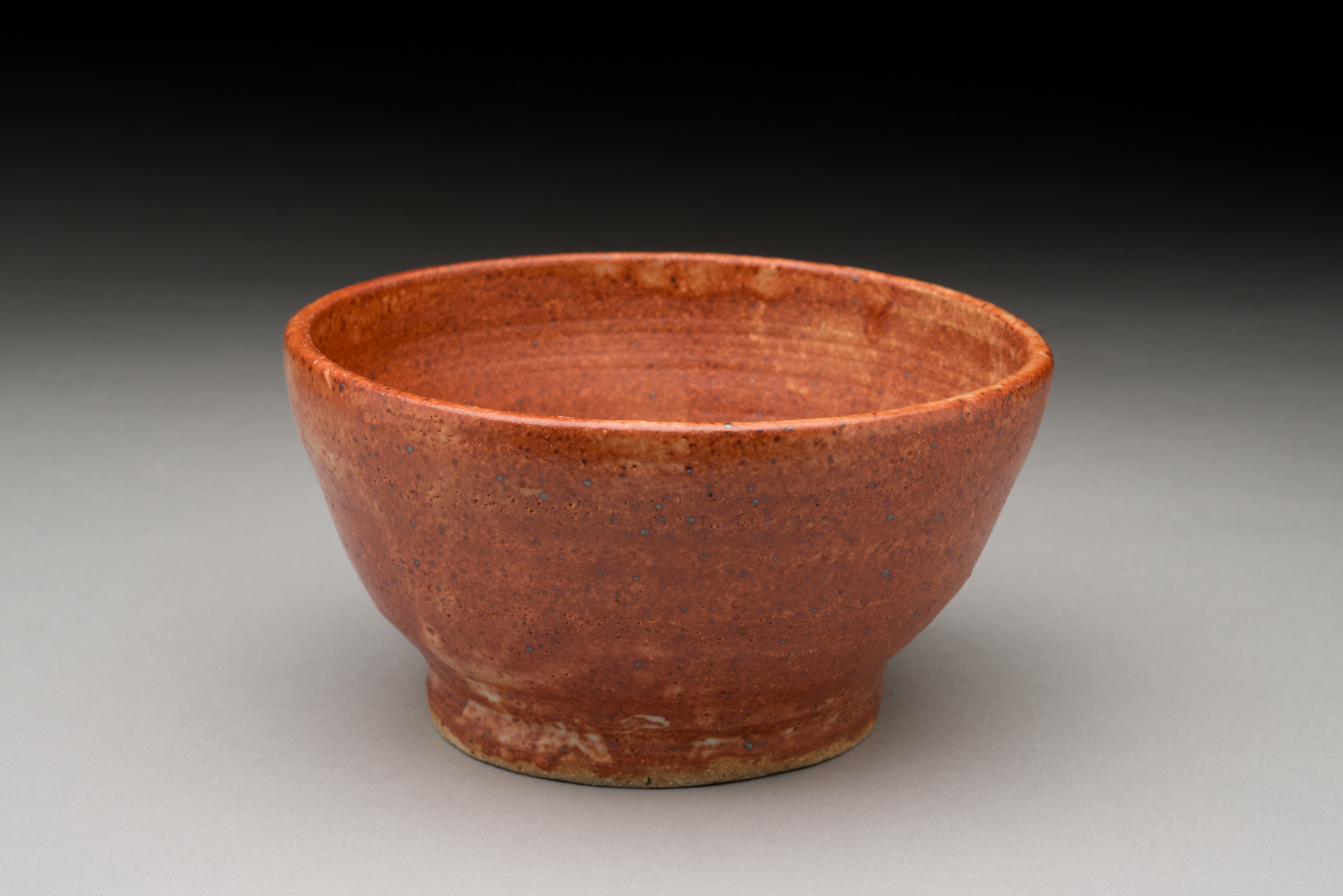 "Copper(Red) glaze tea bowl in a  footed bowl.-tea bowl-4'h,x3.5""w.-footed bowl,4''diameter, 2016"
