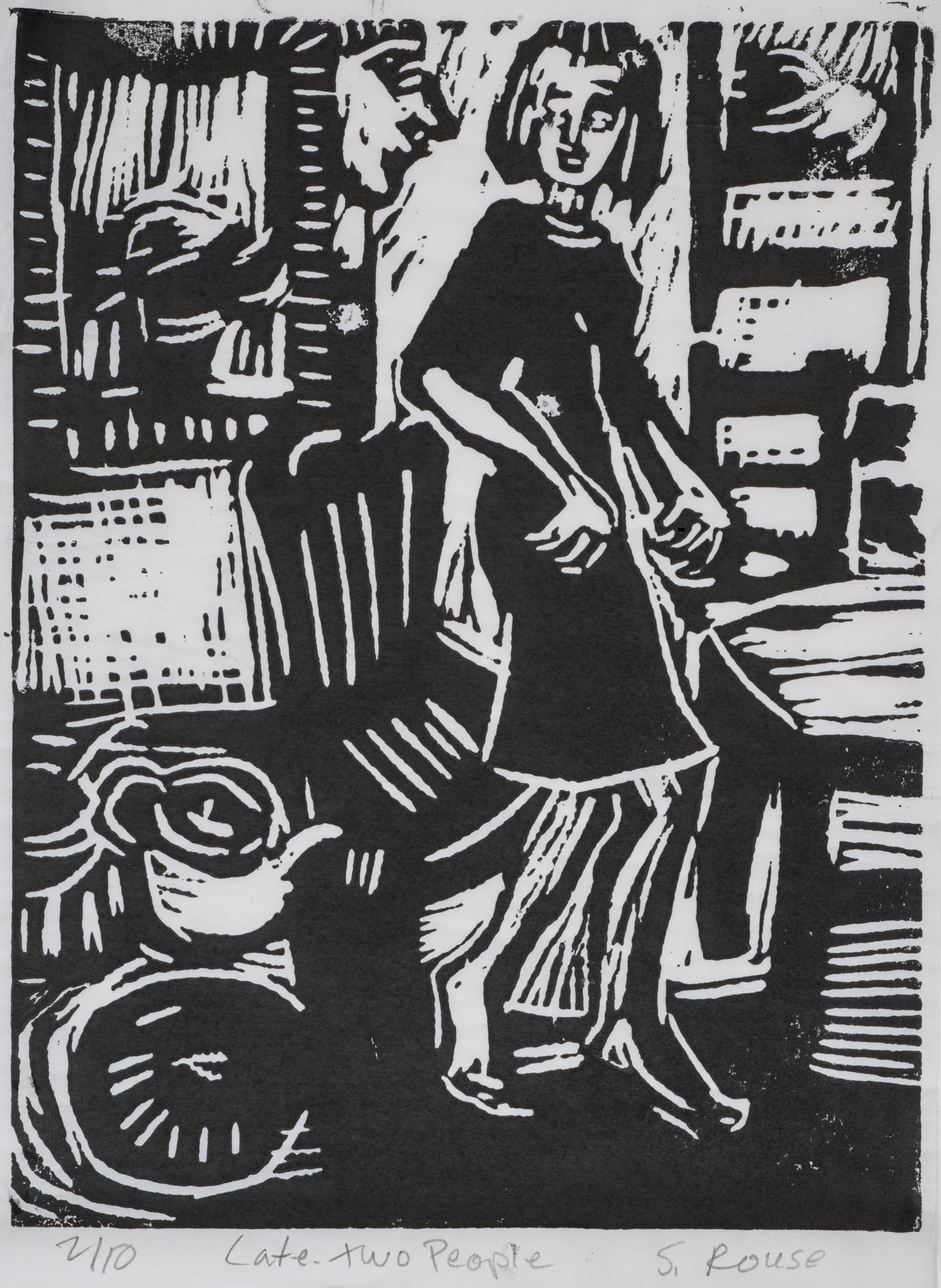 """Two People Late Kitchen"", Linoleum Cut, 13""x9"", 2015"