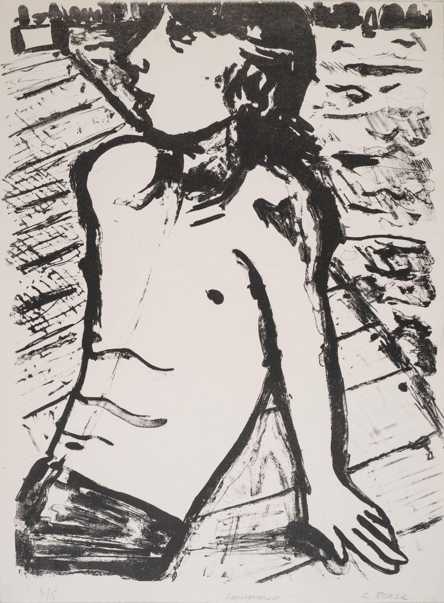 """Boy on the Pier"", plate lithograph, 18""x24"", 1975"