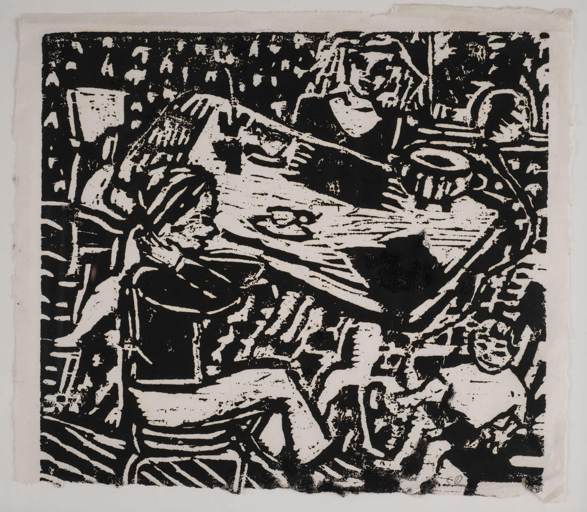 """Birthday Party"", woodcut, 14""x11"", 2015"