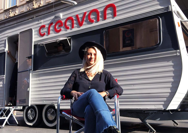 Giada in front of the Creavan in via Roma 104 in Turin, Italy.