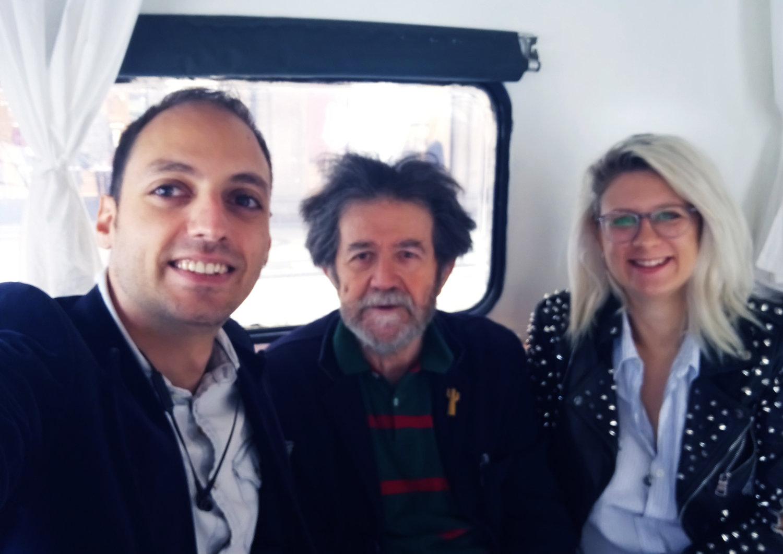 Rawad, Designer Franco Mello and Giada inside the Creavan.