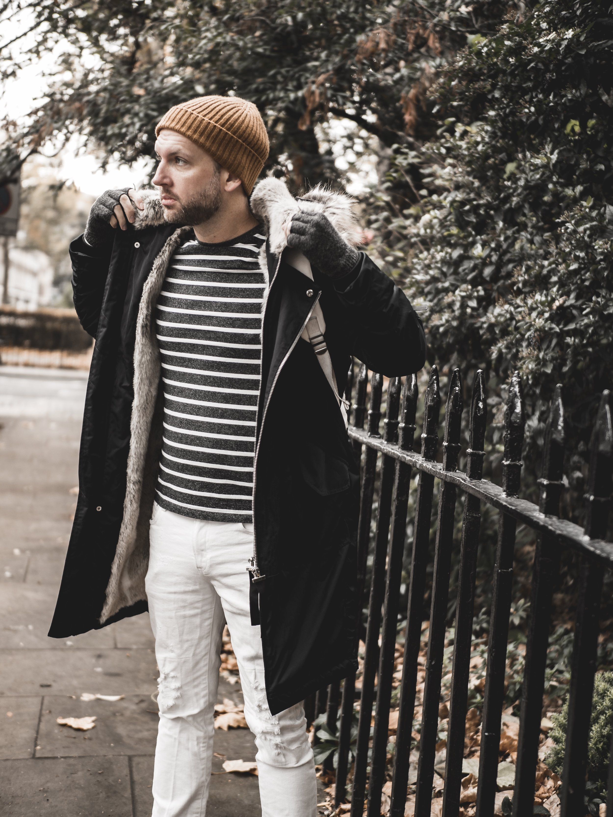 Jay McLaughlin style menswear OOTD OOTDMen White Jeans Parka River Island Beanie Timberland Boots Timberlands Stylonylon