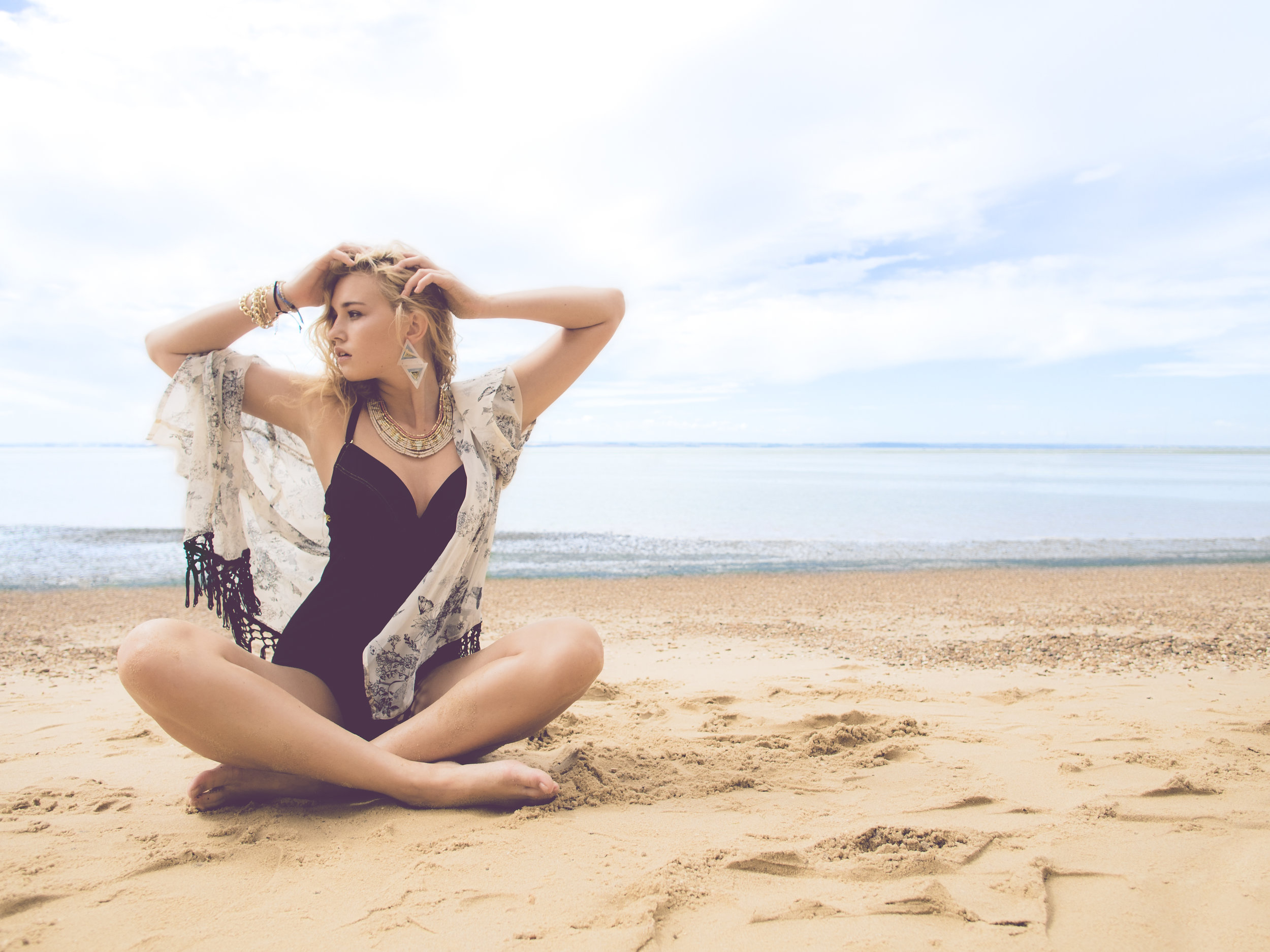 Olympus PEN 12mm f/2.0 Lens Wide Angle Slink Magazine Editorial Photoshoot Plus Size Beach Swimwear Sand Essex Leigh on Sea Southend Gok Wan Model