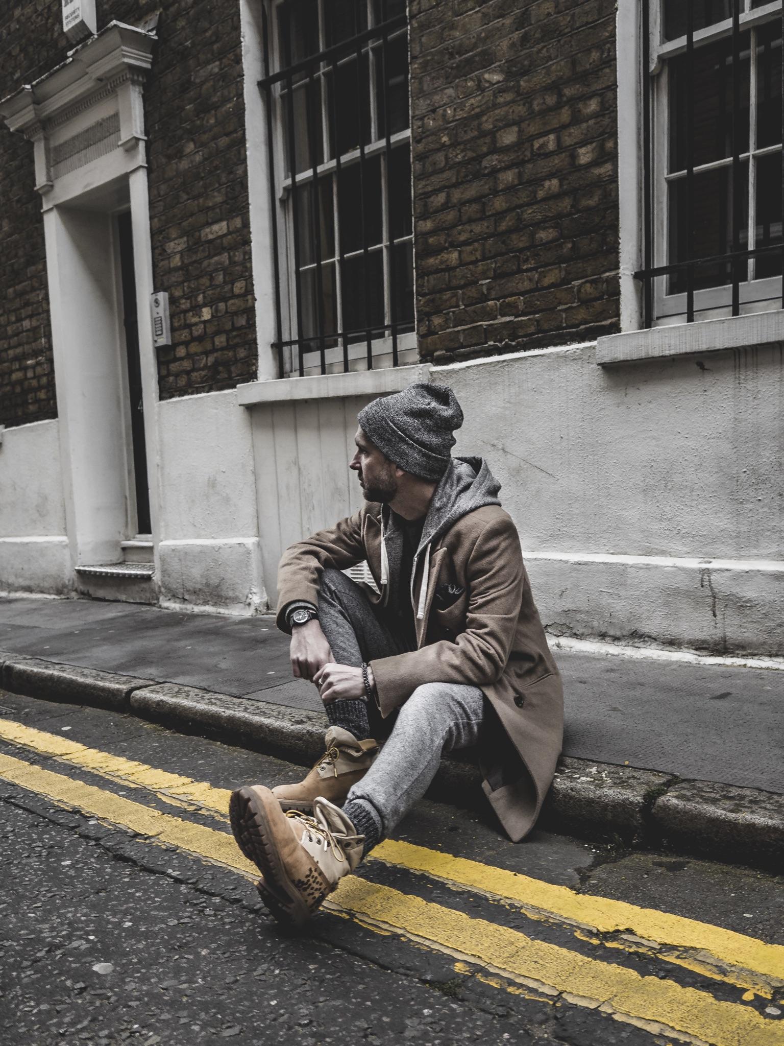 Jay McLaughlin OOTD OOTDMen Style Outfit Timberlands Camel Coat Beanie Joggers Sweatpants Menswear Street London Timex Marks & Spencer Beanie Stylonylon