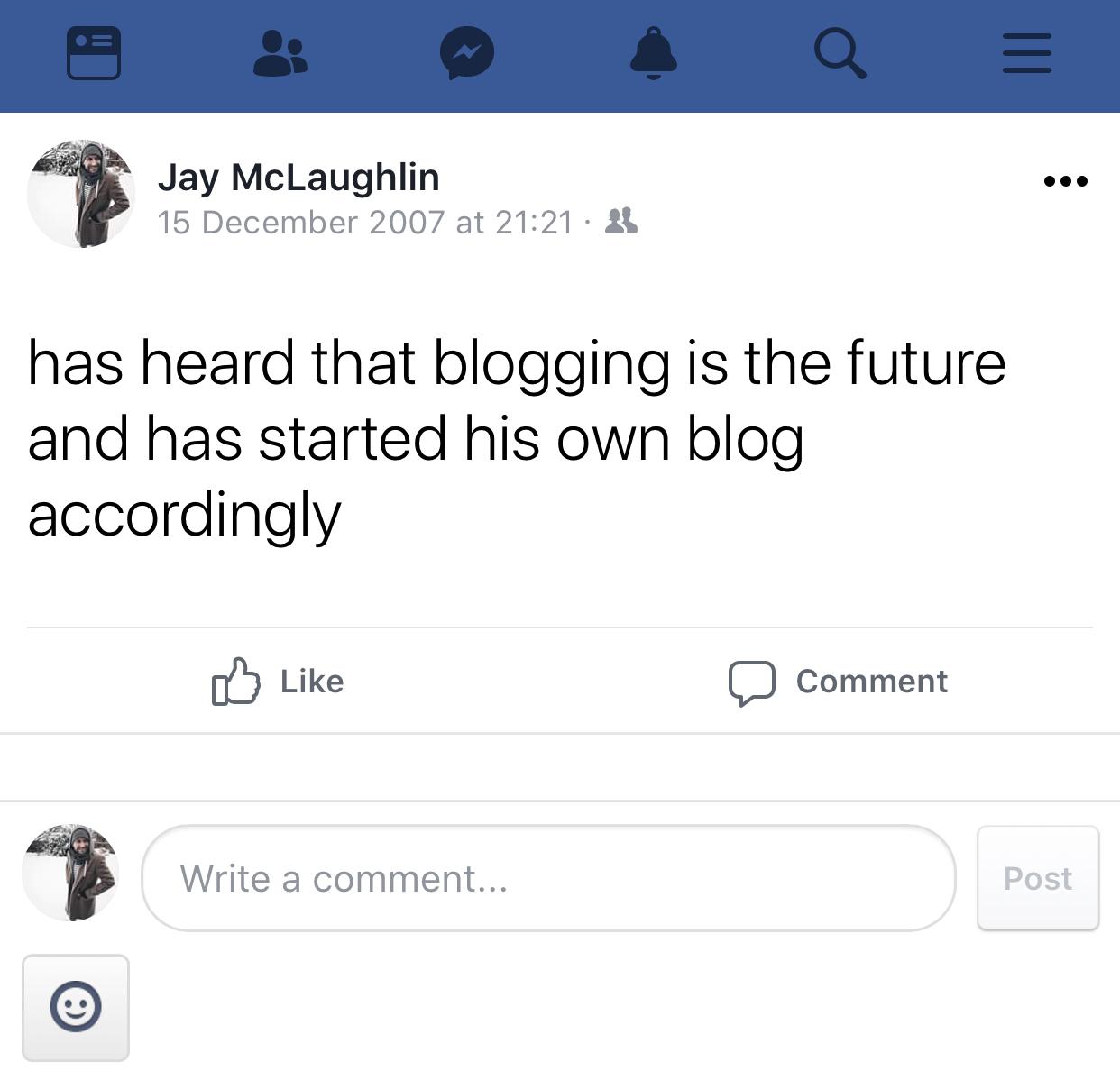 Facebook status post 2007 blog blogger