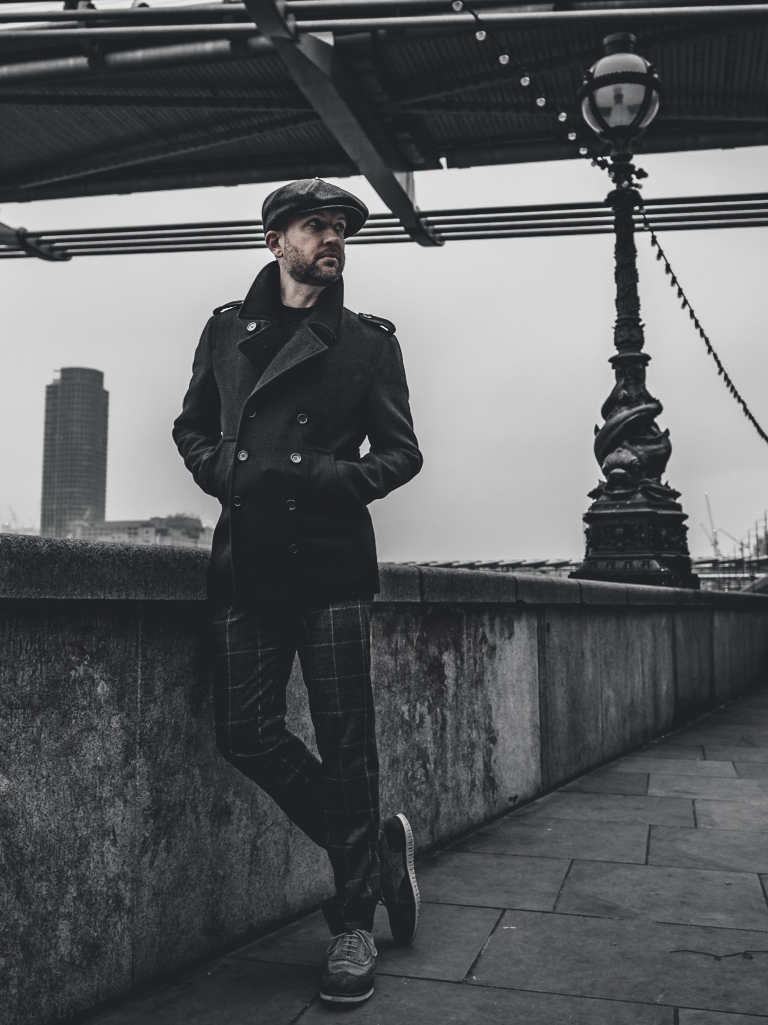 Jay McLaughlin OOTD Outfit Peacoat London Newsboy Cap