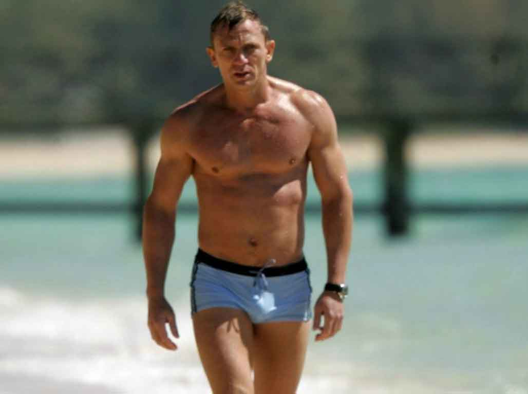 James Bond Style Icon 007 Daniel Craig Shirtless Speedos Trunks Beach Sea
