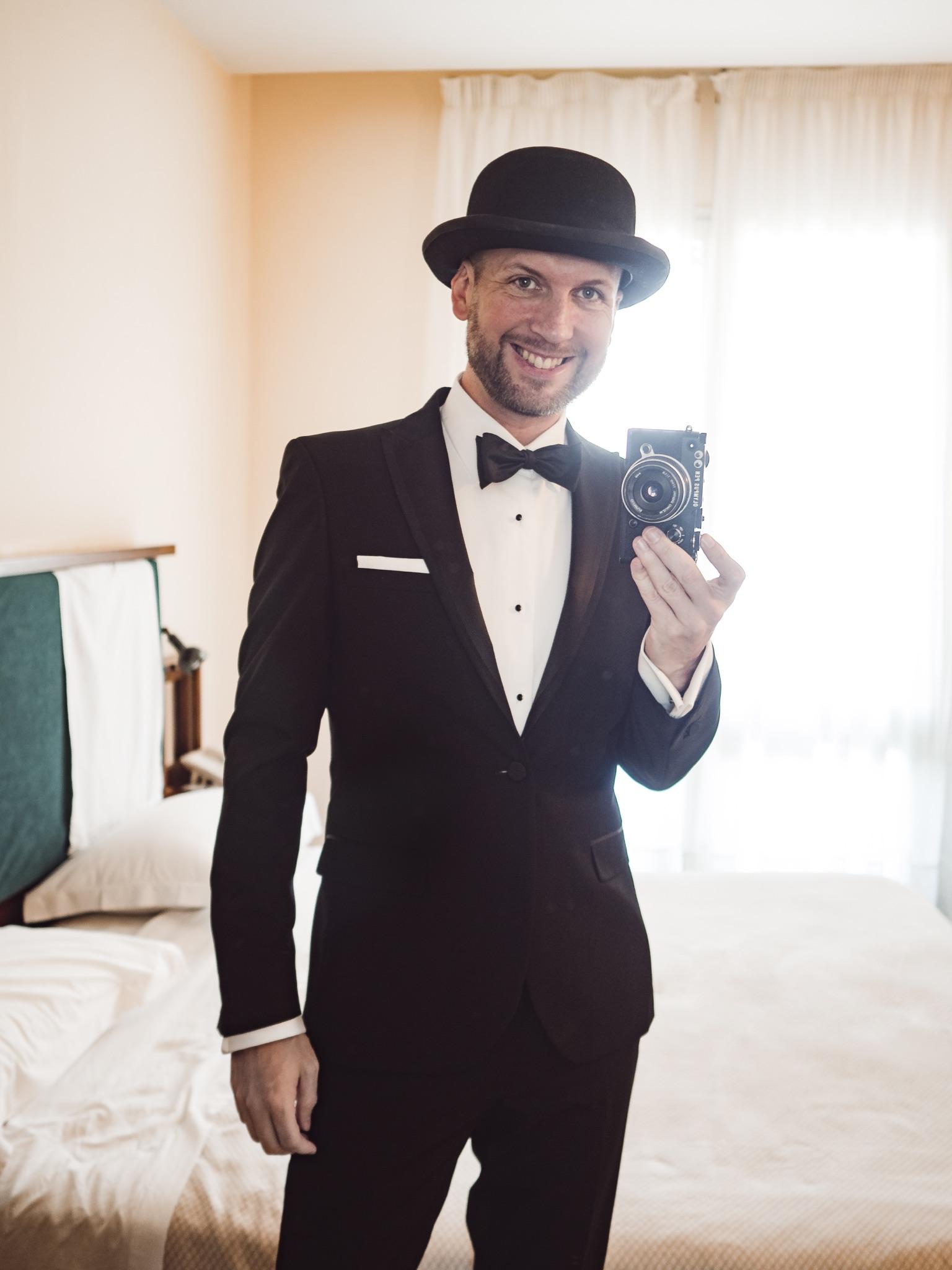 Jay McLaughlin Tuxedo Bowtie Black Tie Bowler Hat Olympus PEN-F Ravello Italy Amalfi
