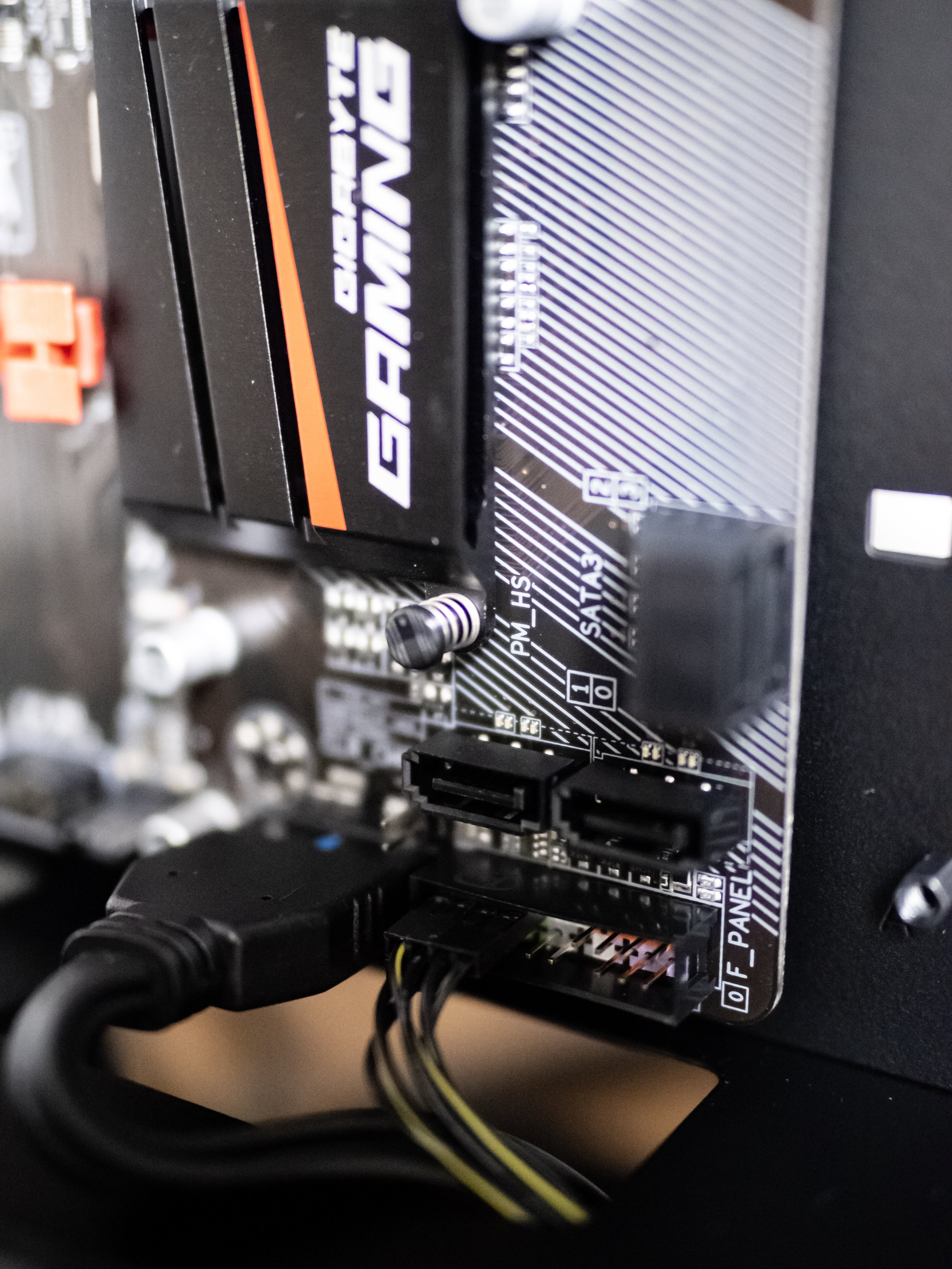 Gaming PC Build Gigabyte AB350 Motherboard Front Panel Connections