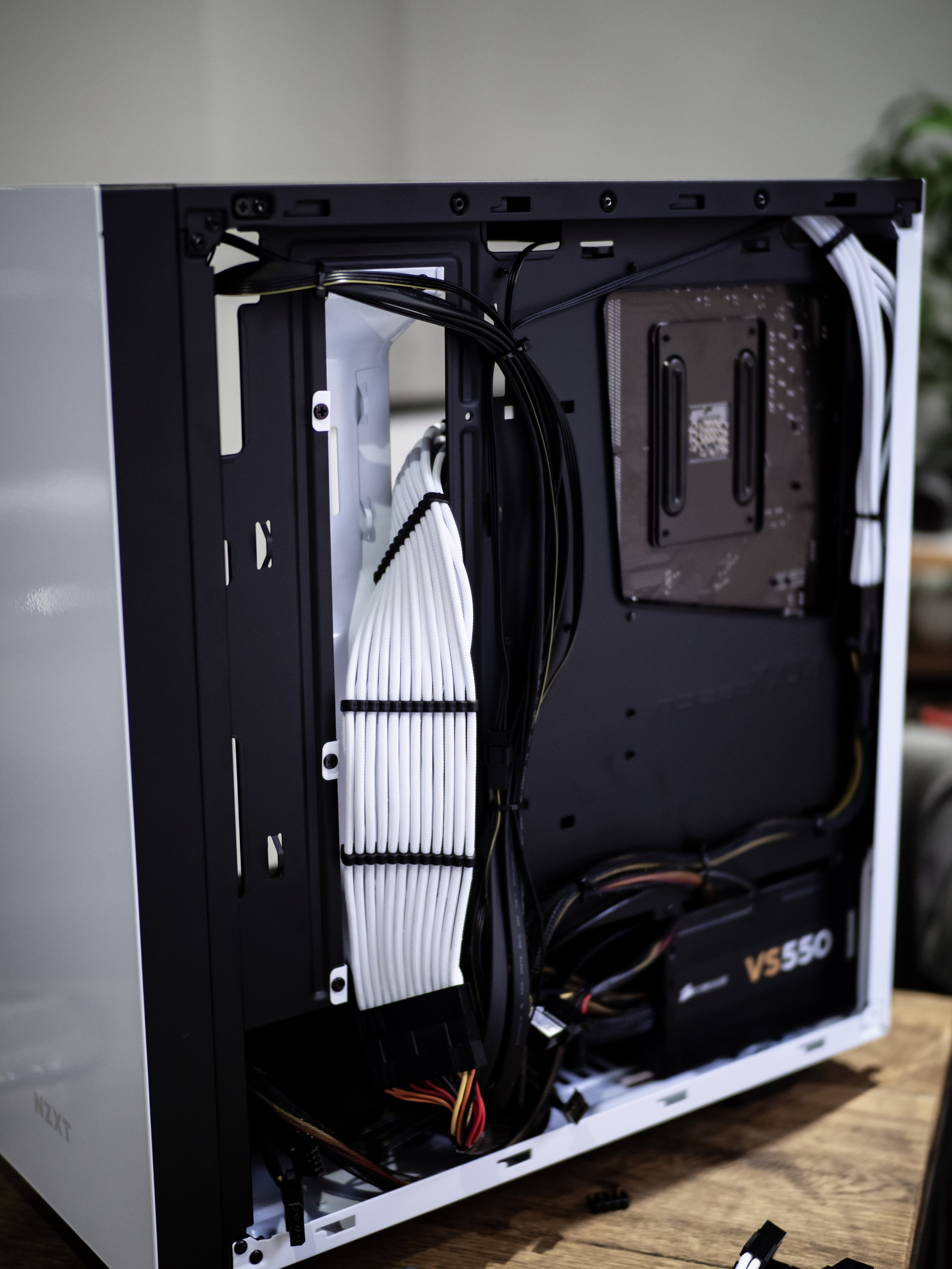 Gaming PC Build White Cable Management Braided NZXT Case Corsair VS550 PSU Power Supply Unit
