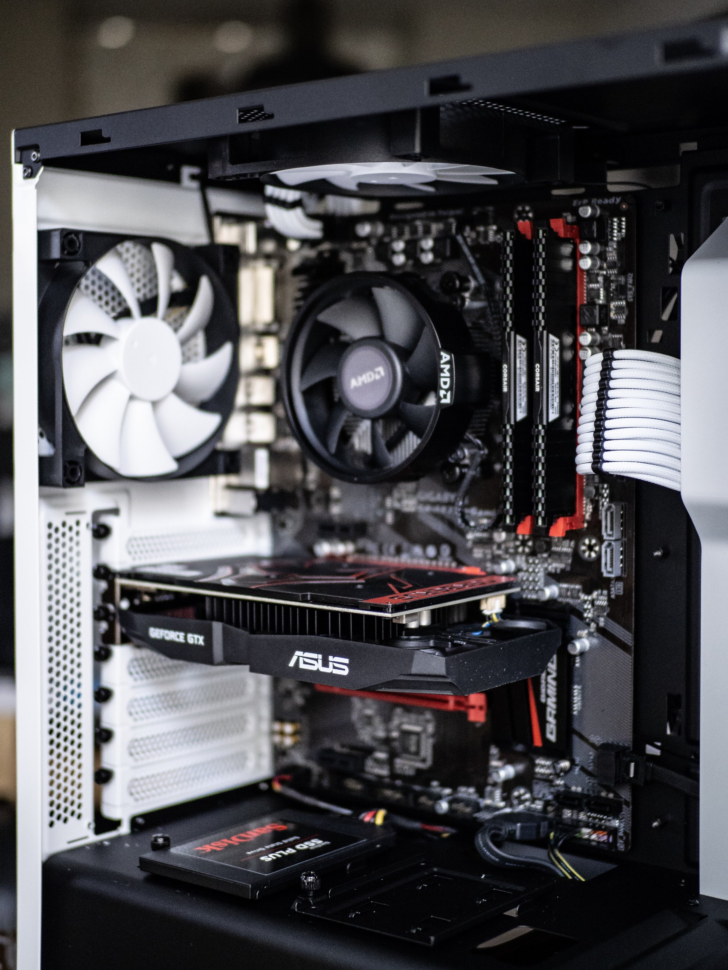 Gaming PC Build Asus Cerberus Nvidia GTX GeForce 1050Ti GPU Graphics Card Gigabyte AB350 Gaming Motherboard NZXT White Case Sandisk SSD Solid State Drive Corsair Vengeance DDR4 RAM Memory