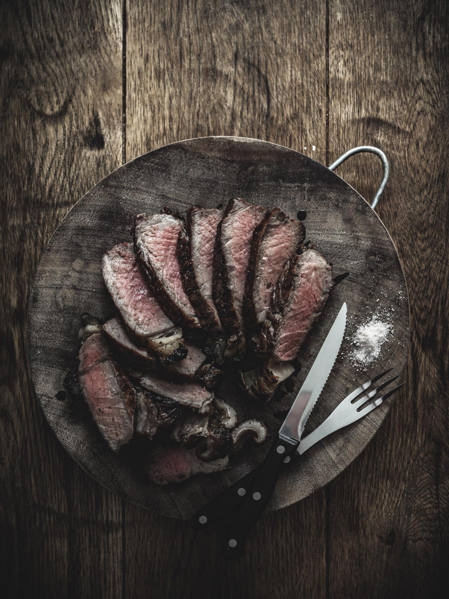 Carnivore diet sirloin steak from the butcher medium rare