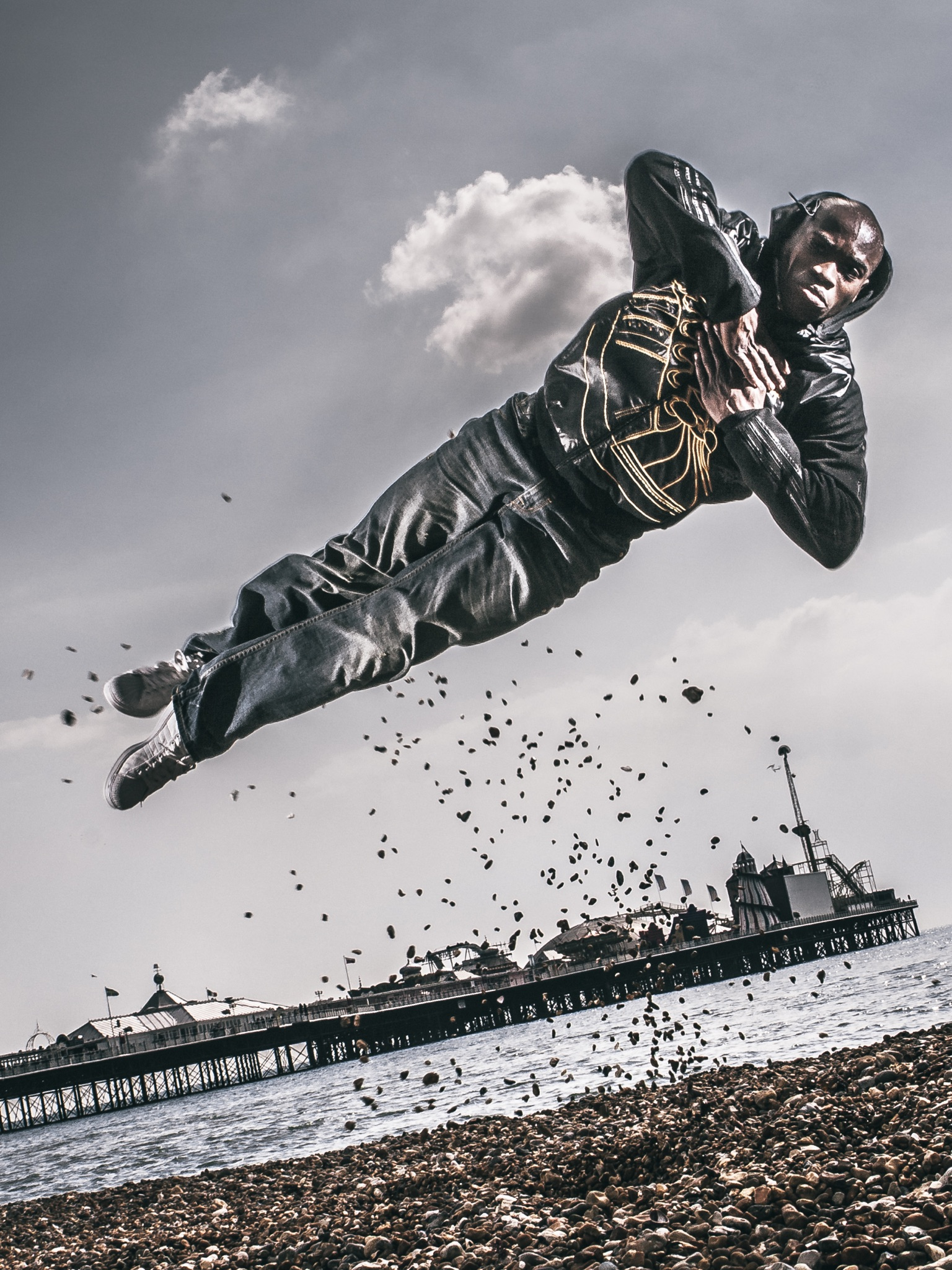 JP Omari Brighton Pier Photography Jumping Breakdancer Breakdance Jump Stones Award Winning Photo