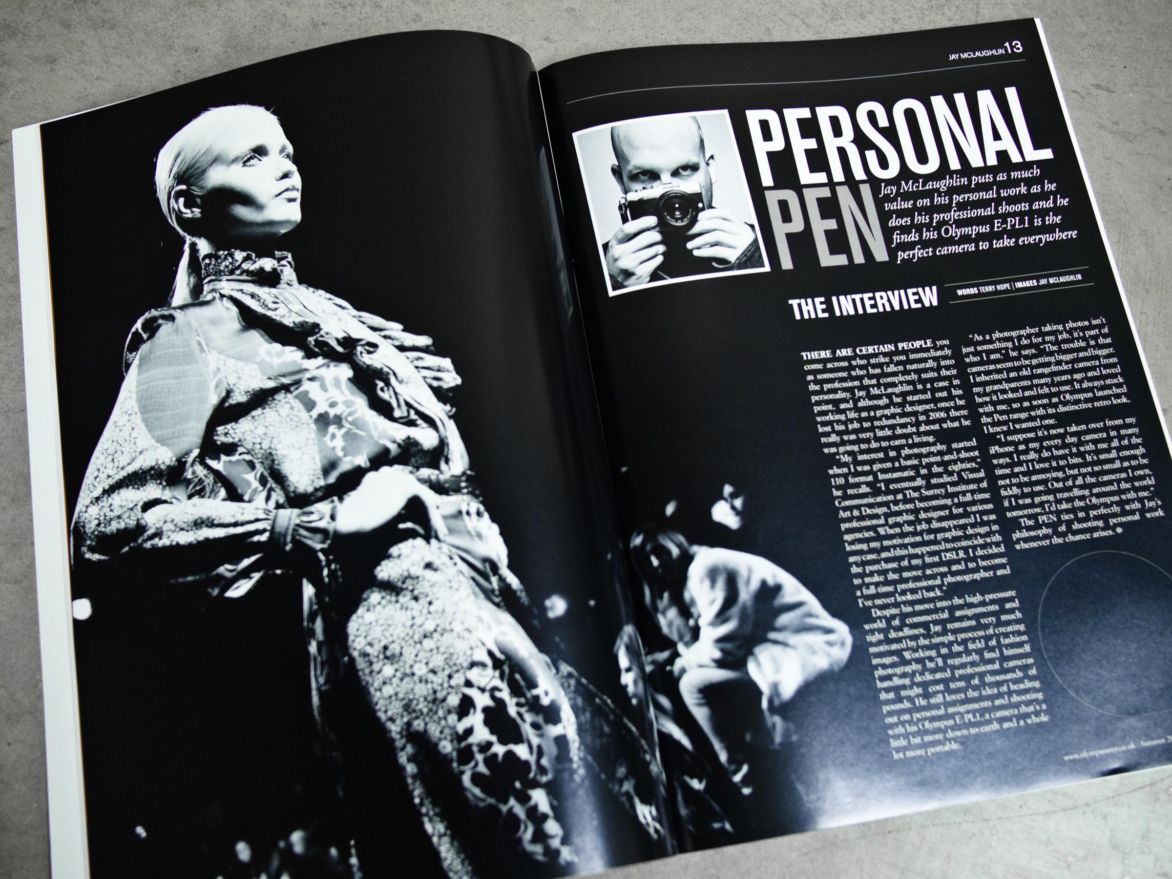Olympus User Magazine Cover Feature Interview Article Jay McLaughlin PEN E-PL1 Abbey Lee Kershaw Paul & Joe PFW Paris Fashion Week