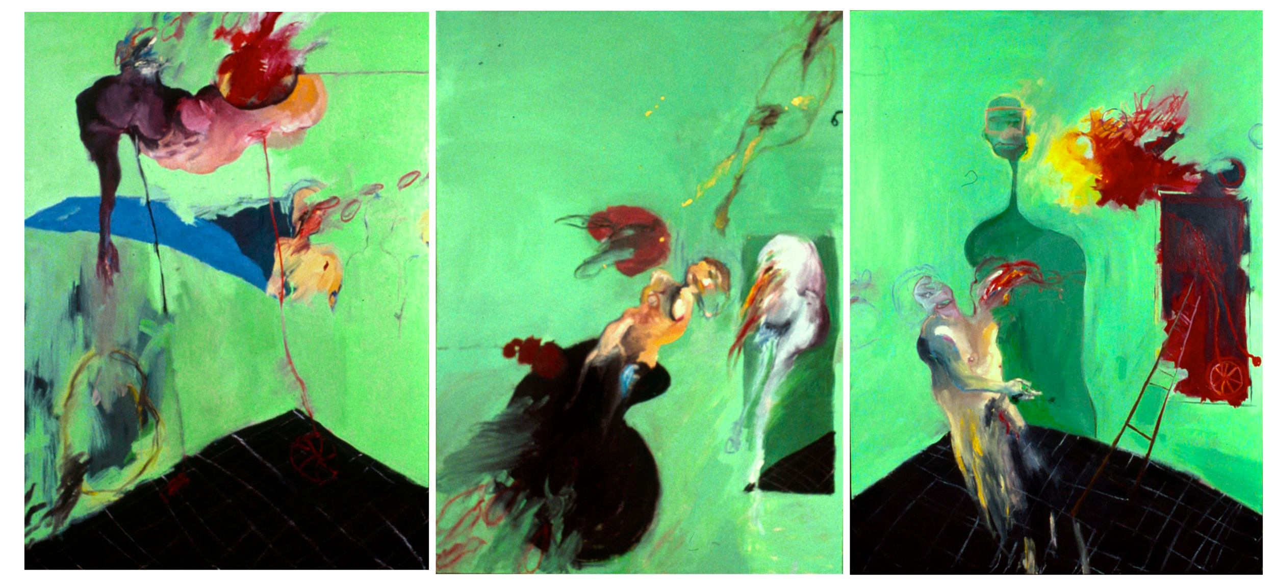 Triptych of '97 - Three figures in a hospital