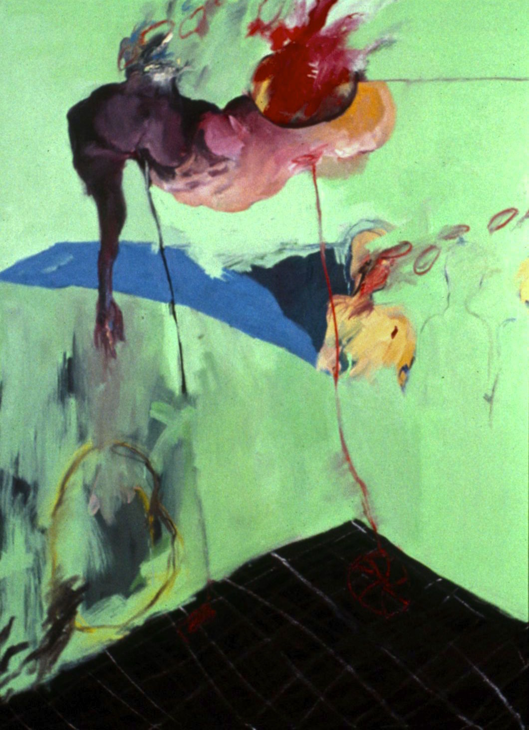 Triptych of '97 (left panel) Three figures in a hospital