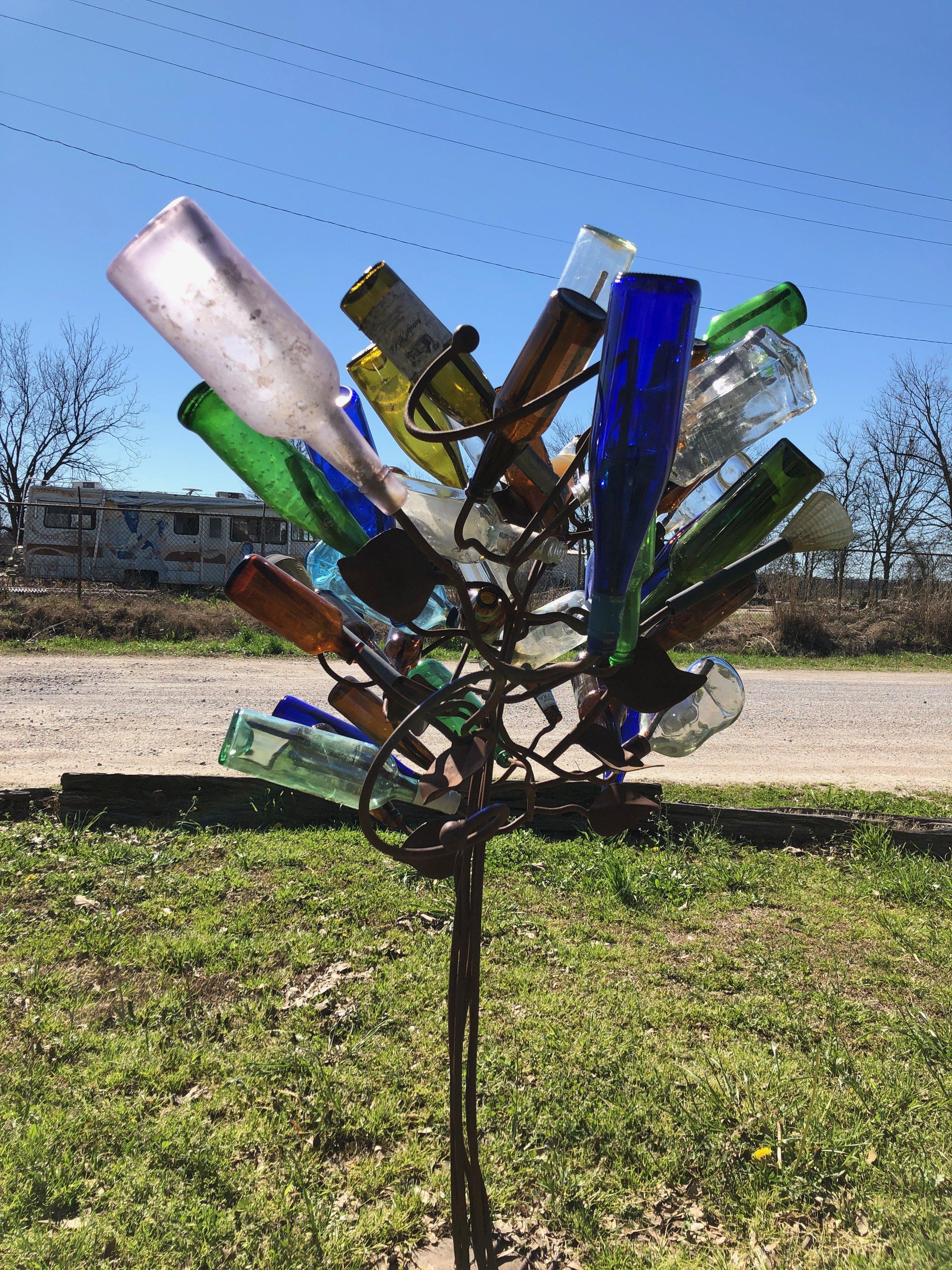 Free form bottle art at the Shack Up Inn