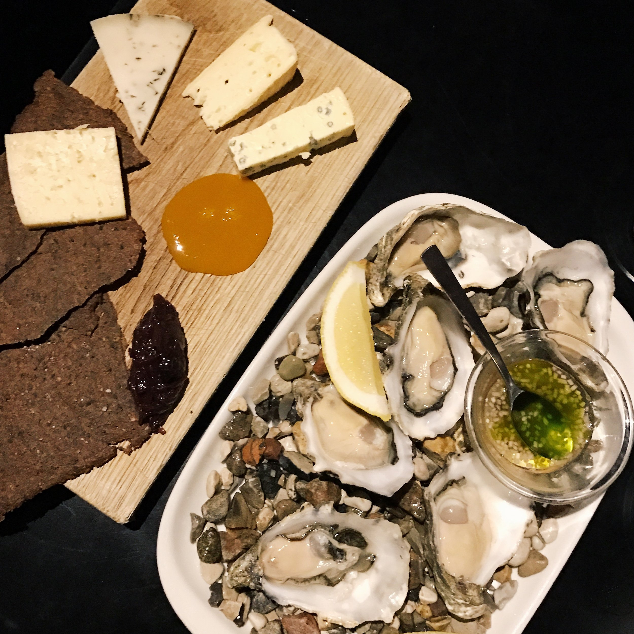 Oysters and Nordic cheeses