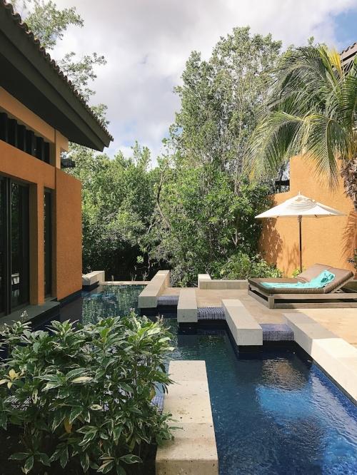 Private pool area at the guest villa