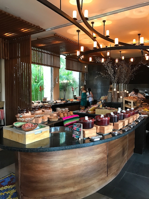 Breakfast buffet spread