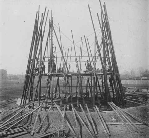 Under construction: The Shukov radio tower, Moscow, 1920-1922.