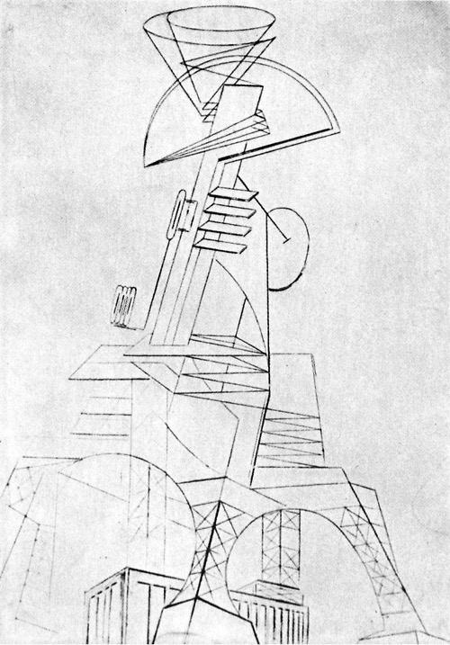 Naum Gabo ,  Project for a Radio Station , 1921