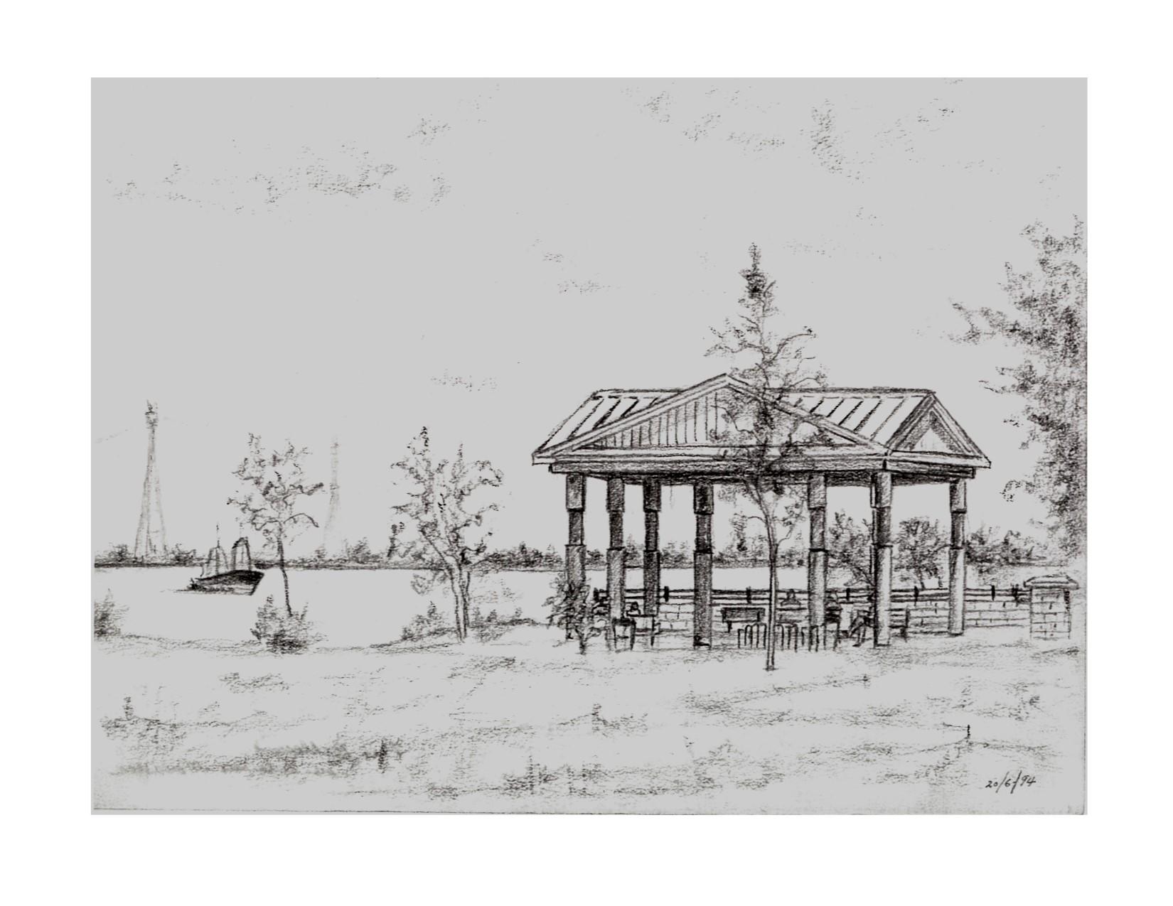 RICHARD JEAN-GUY (1929-2017)  Sans titre, 1994  Crayon plomb sur papier à dessin  13'' x 15''  *Exposé actuellement dans la salle polyvalente du chalet d'accueil