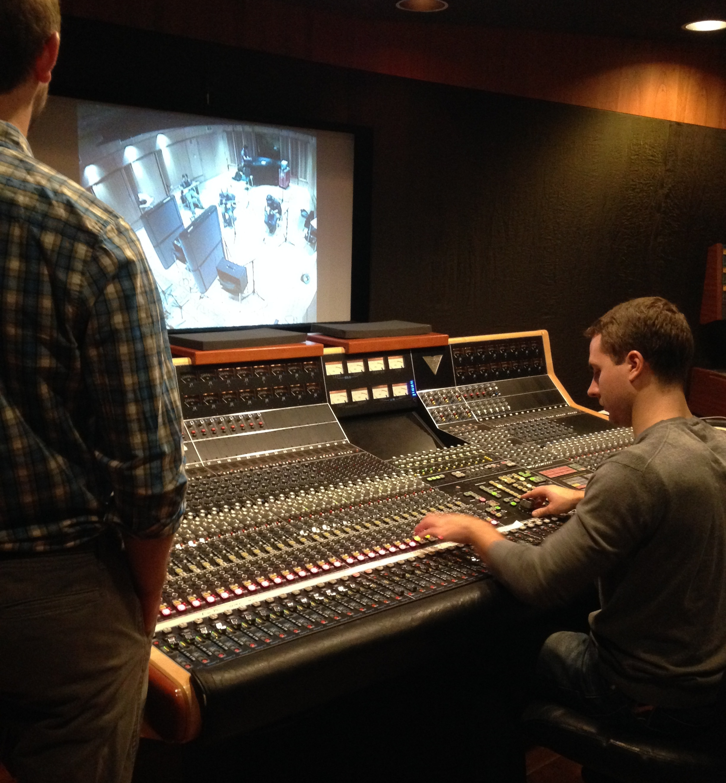 Ethan King and Sean Patterson tracking P-Zap in UML's main control room, 2015.