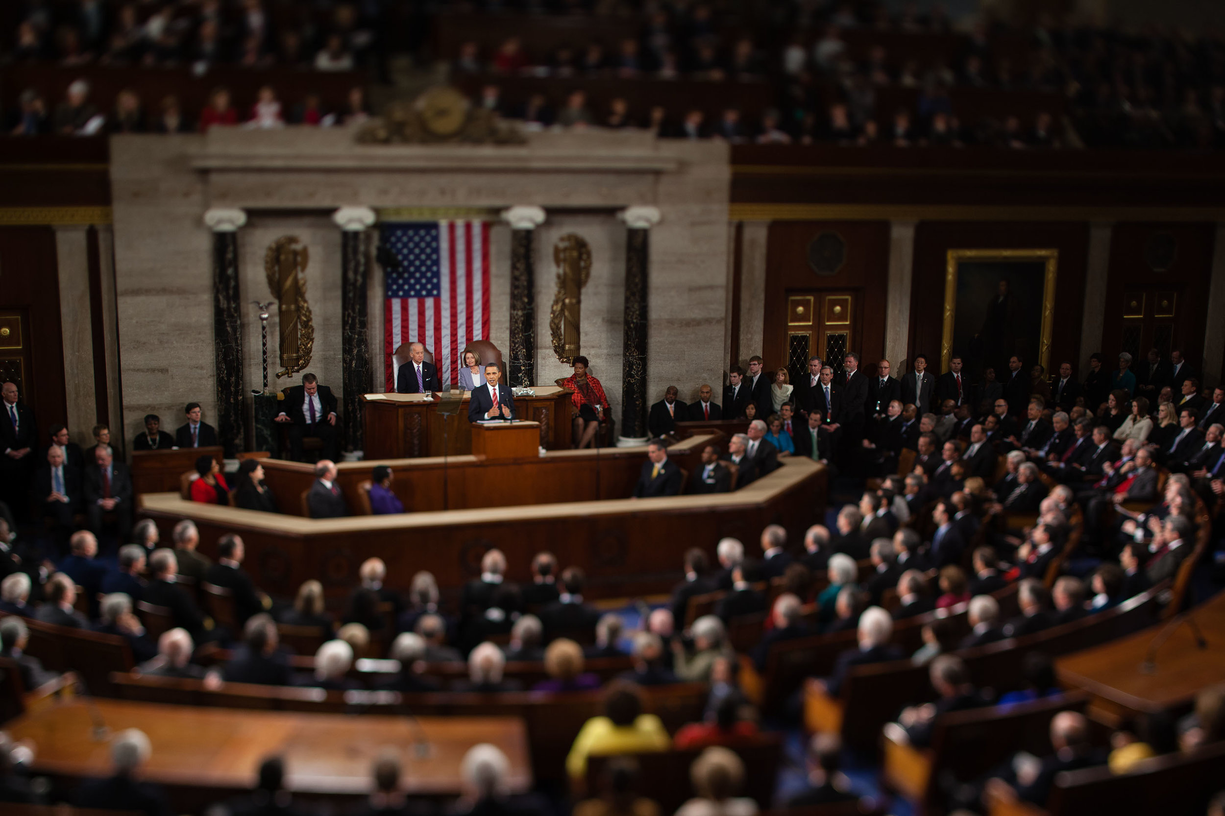 President Barack Obama gives his State of the Union address to a joint session of Congress in the House Chamber of the U.S. Capitol, Washington, D.C., 2010