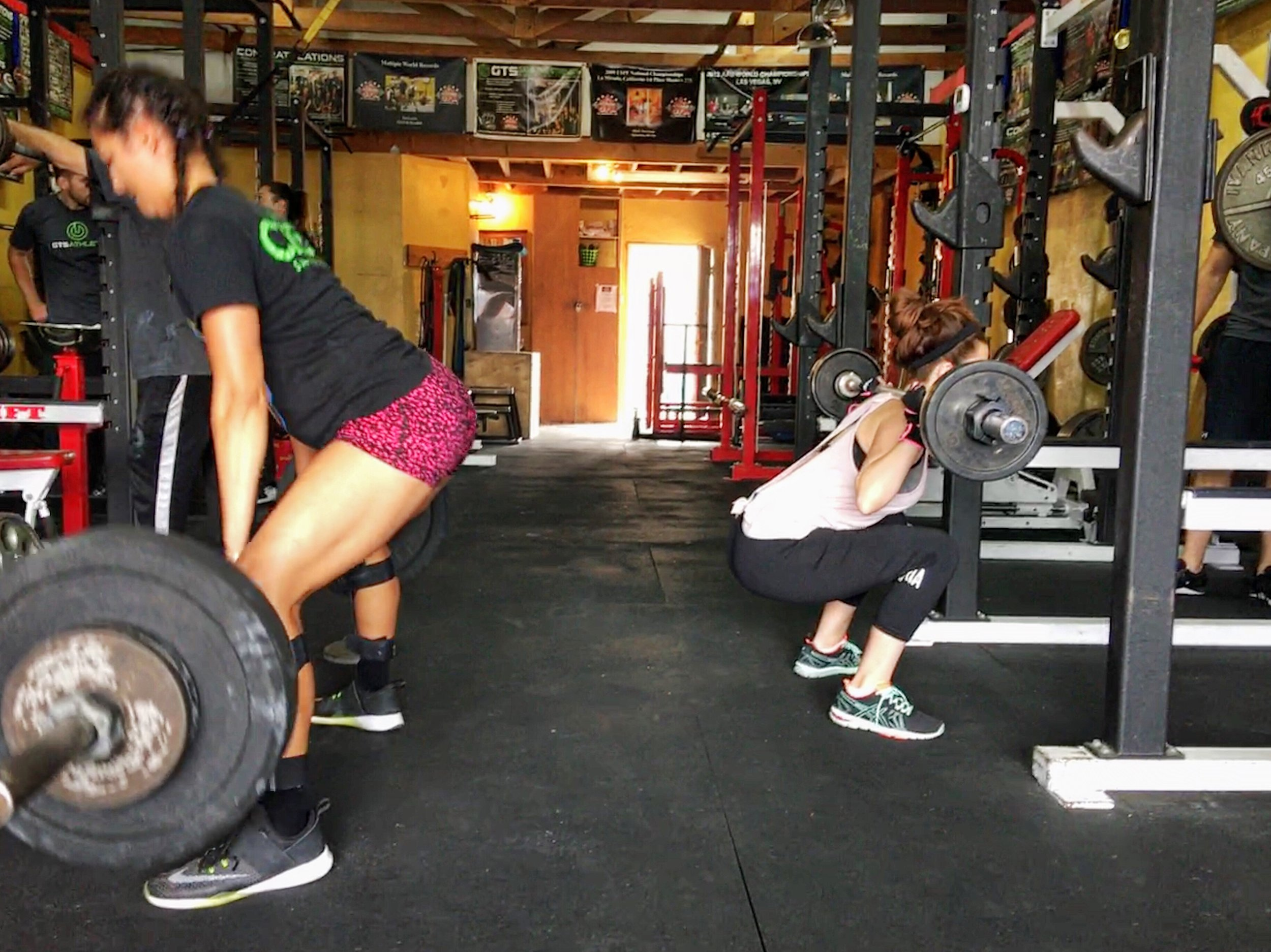 women deadlift and squatting barbell gym - el segundo game time strength los angeles personal training group training team strength coach.JPG