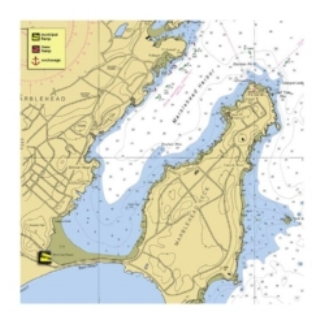 A nautical map of marblehead harbor