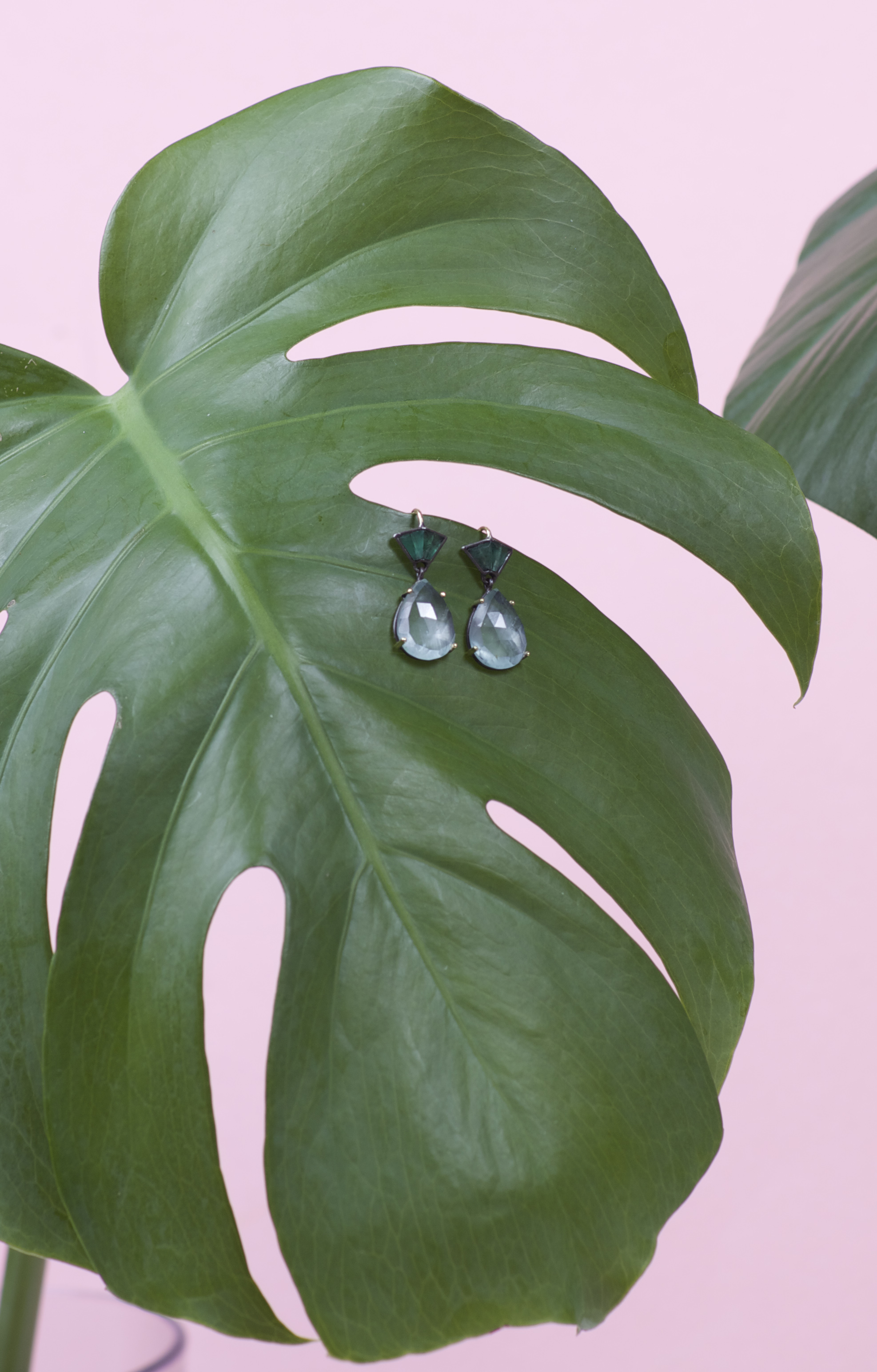 NAK ARMSTRONG Emerald & Moonstone Small Teardrop Earrings