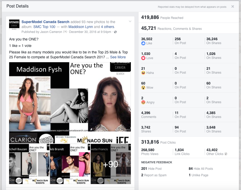 Congratulations to all Models!  The Voting has now ended. With over 400,000 people reached in 2 weeks and thousands of votes!!!  TOP 50 will be posted by January 25th/2017  Models will be notified within 24-48hours please check your email.  SuperModel Canada Search in Association with  Clarion Medical Technology & Toronto Fashion Academy   Corporate Partners:  Dr. Cory Torgerson   Monaco Sun Events  ColorScience  Teosyal   3M   Fashion Partner:   International Fashion Encounter 3rd Edition  ARE you the one?