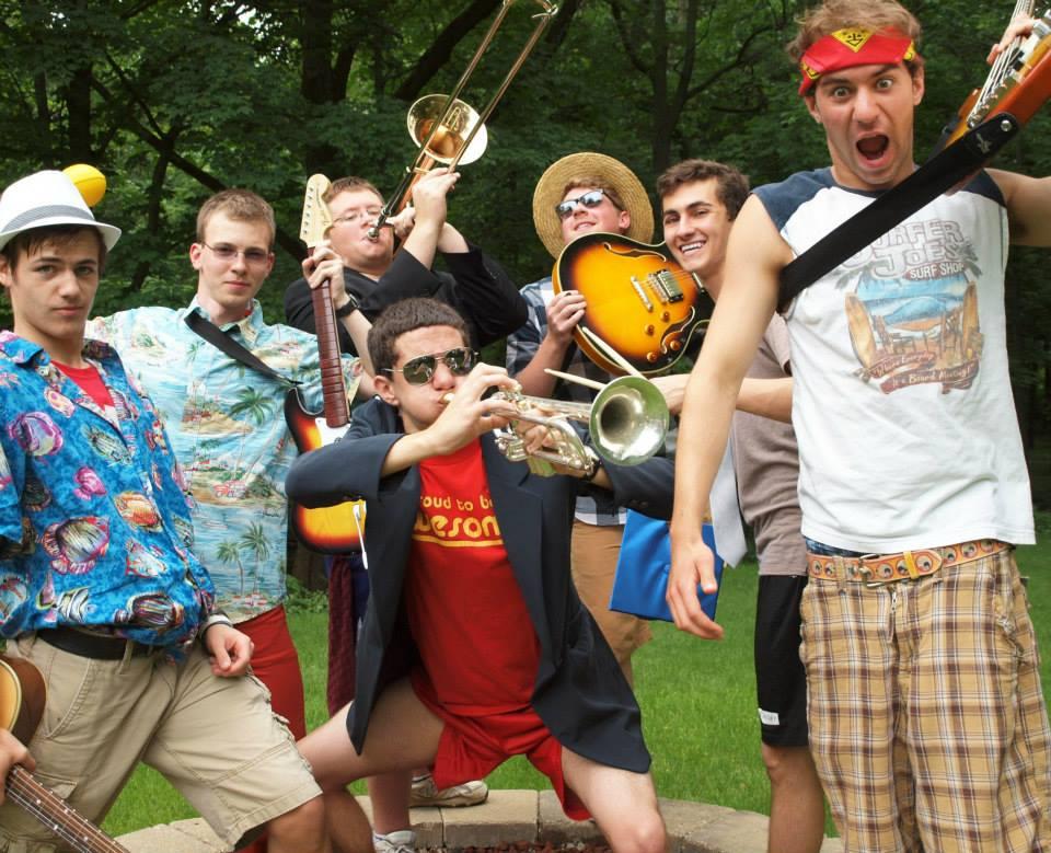 Steve with ska band The Crunchy Peaches