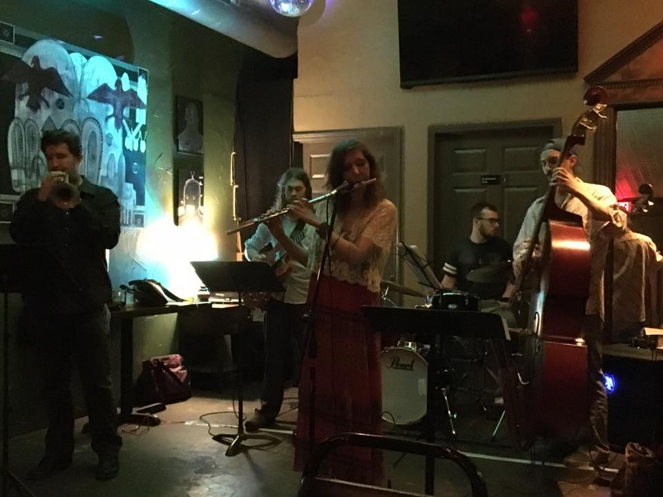 Medicine Men's first show in April 2016 at the Alcove. Rob Alley on trumpet