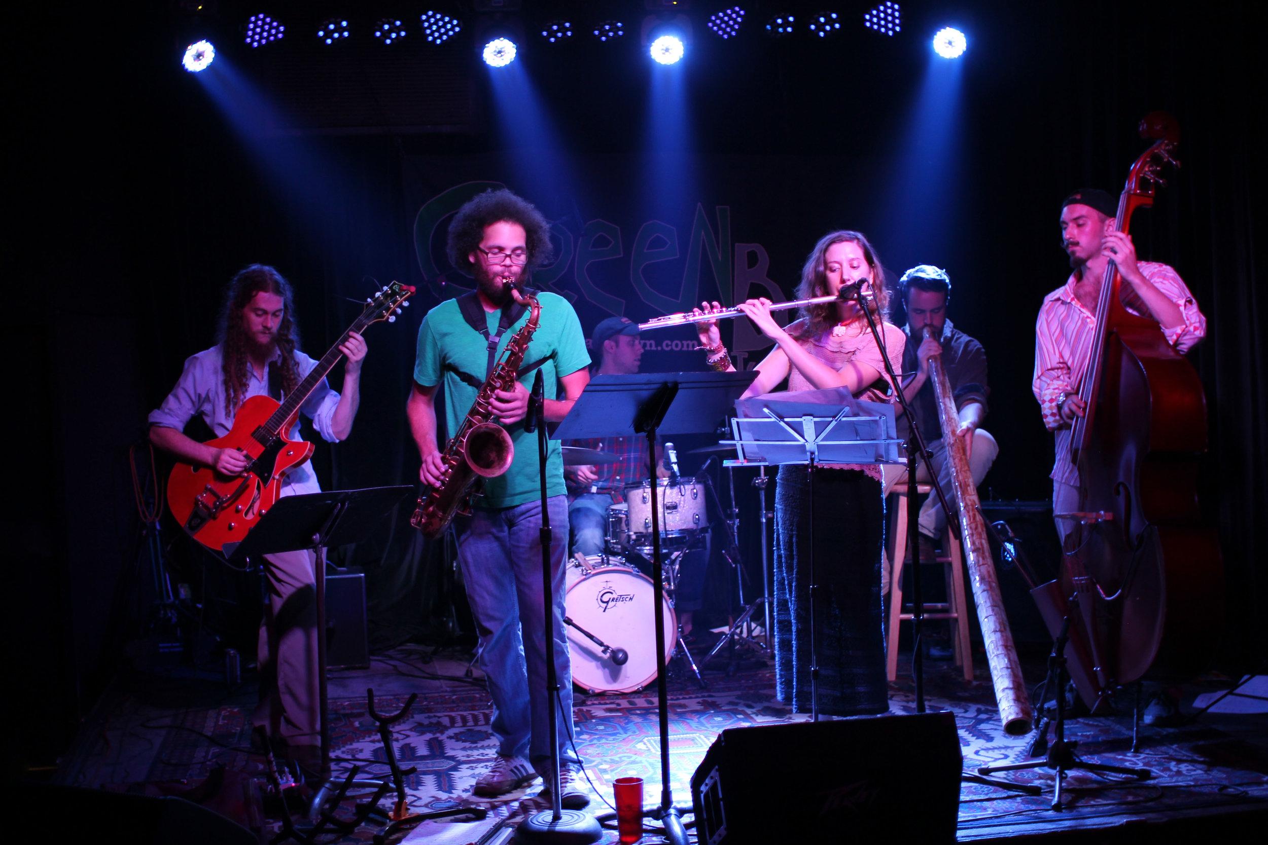 Medicine Men Quintet at our July Green Bar Show with guest Didgeridoo player Will MacGavin    photo creds: Lauren Musgrove