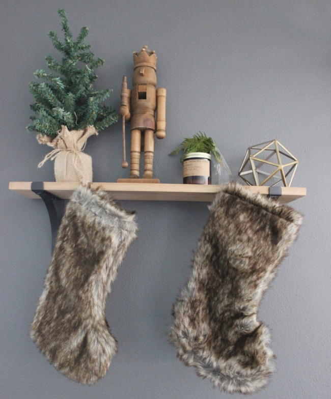 faux fur stockings & natural greenery elements