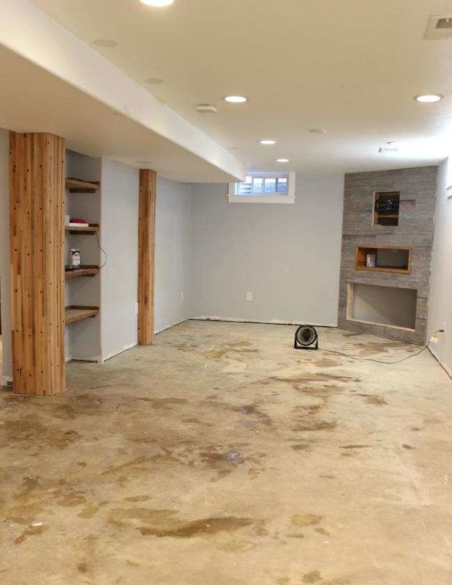rustic modern basement renovation