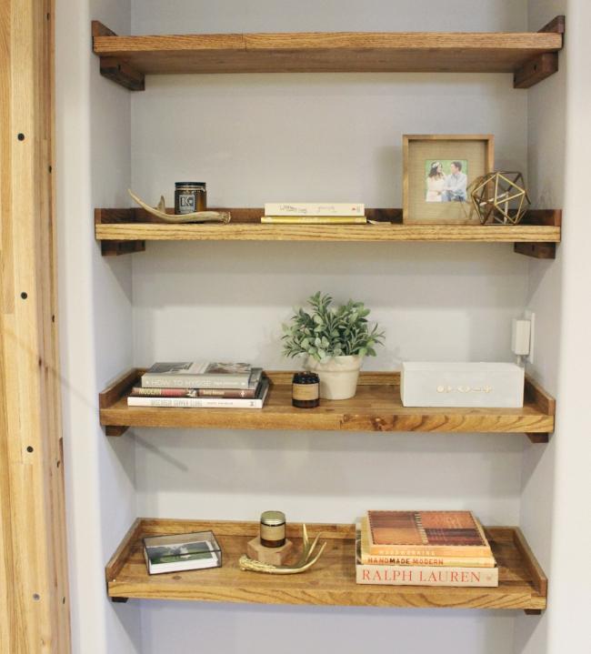 reclaimed wood bookshelf built in | rustic modern basement renovation