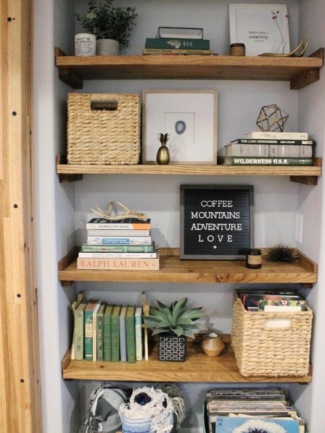 reclaimed wood rustic modern bookcase | la petite farmhouse