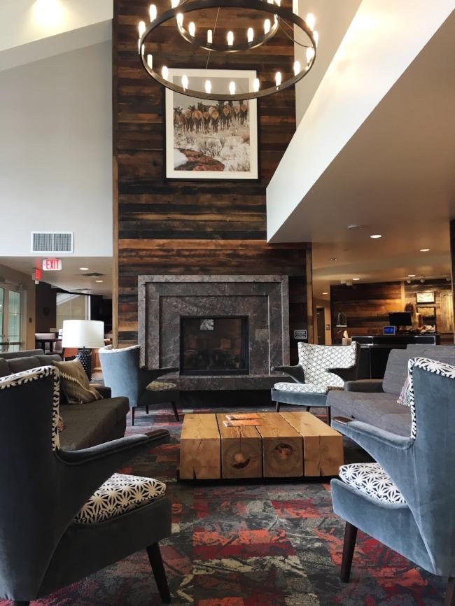 Rustic modern lobby at Residence Inn Breckenridge, Colorado