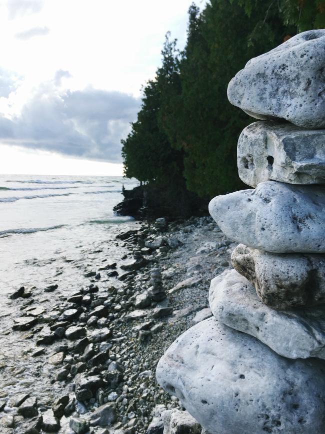 balancing rocks on the shores of Lake Michigan