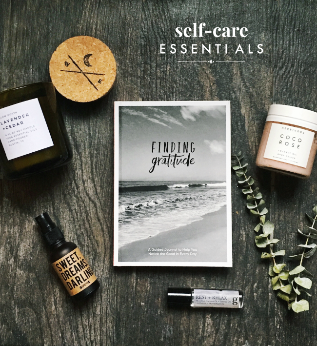 My wellness essentials:  Lavender & Cedar Candle - Slow North  | Sweet Dreams Spray -  Happy Spritz | Gratitude Journal -  Hutch & Hide  (also on  Amazon ) | Coco Rose Body Polish -  Herbivore  | Rest & Relax Essential Oil Roller -  Graced Home