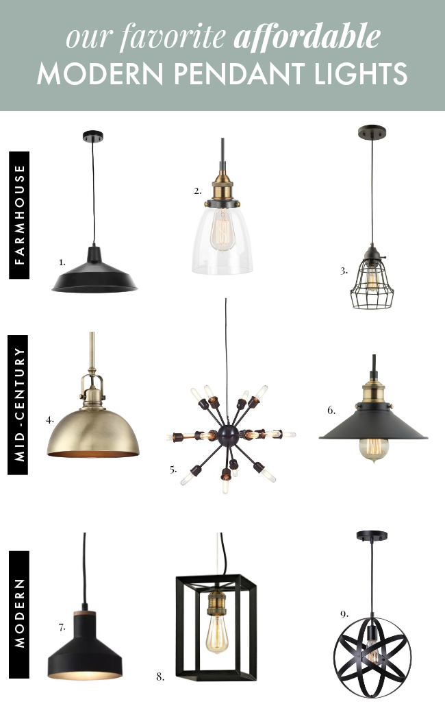 affordable modern pendant lights for farmhouse and mid century homes