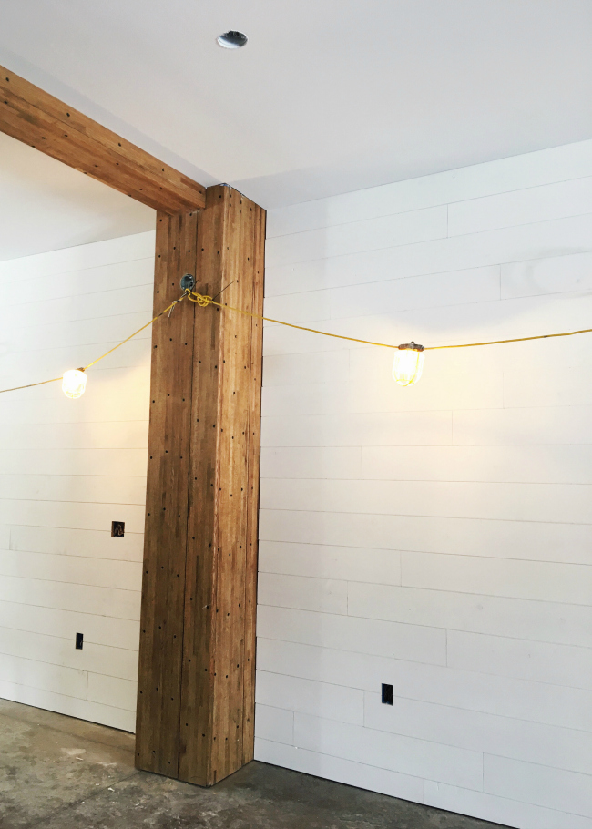 The beautiful finished shiplap walls have brightened up the space so much!