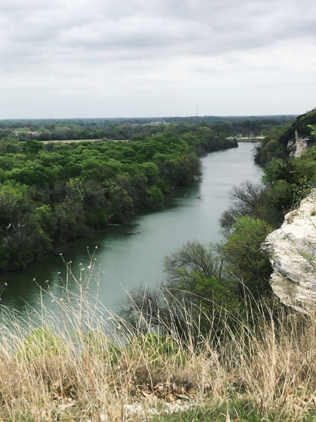 The view of the Brazos River in Waco from Cameron Park