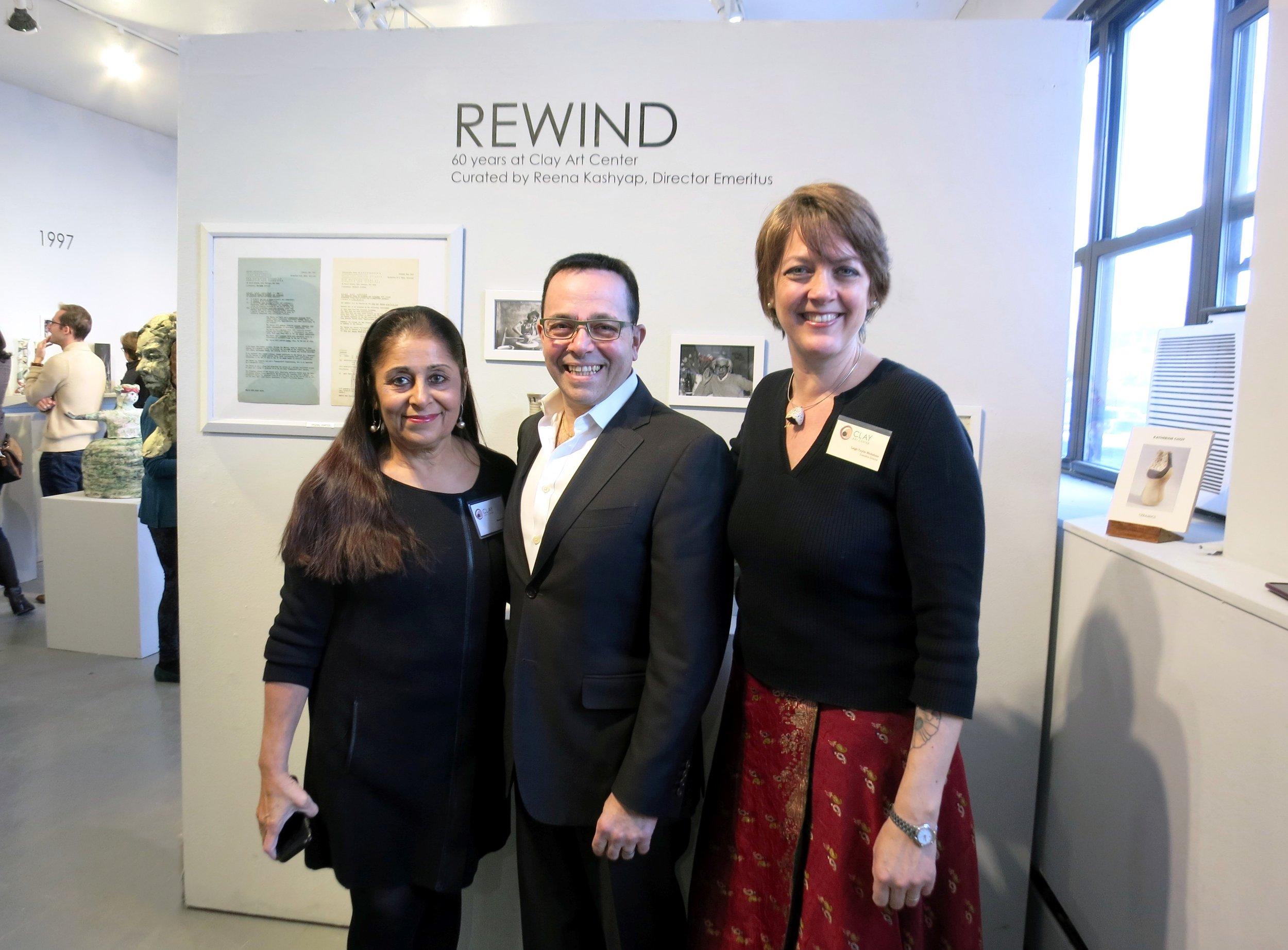 Reena Kashyap (Director Emeritus & Curator), Dennis Pilla (Port Chester Mayor), Leigh Taylor Mickelson (Executive Director)