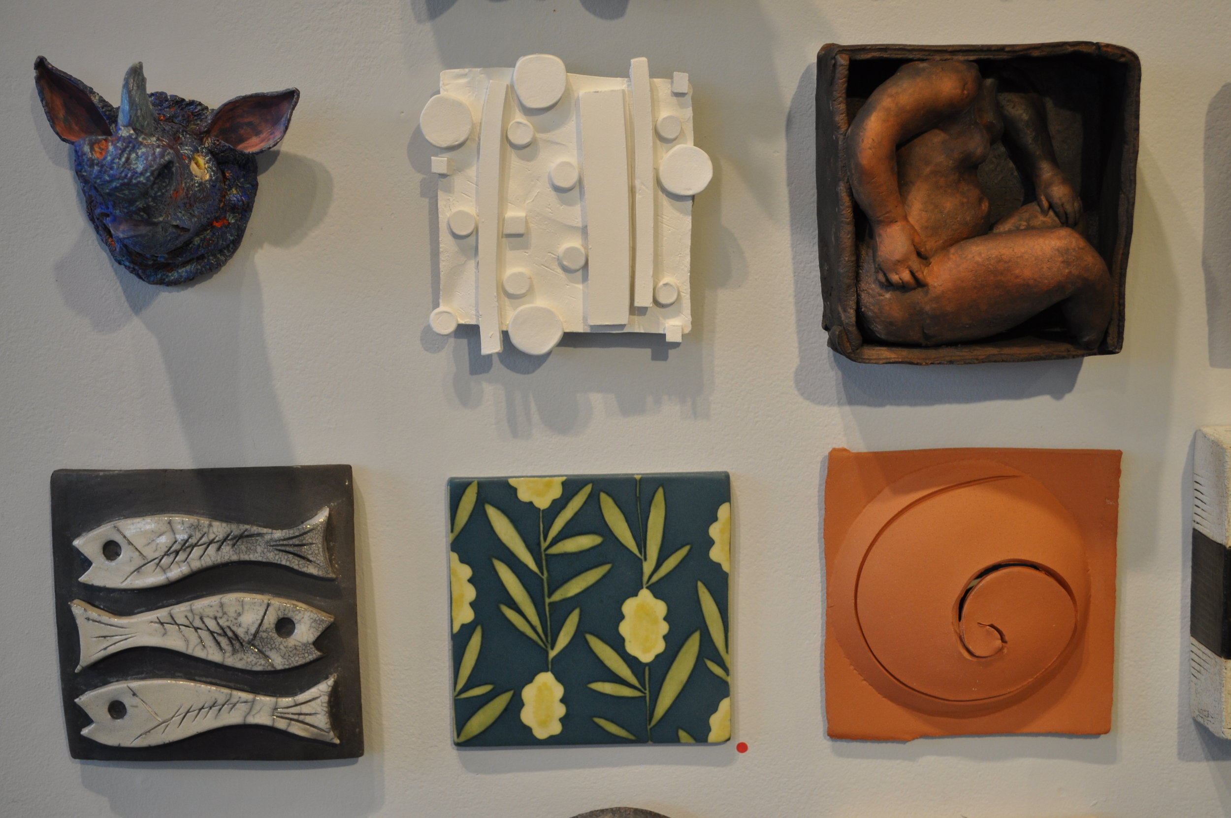 1. Mary Cloonan, Cantakerous(Rhino)  $175 2.Lisa Breznak, Into The Woods  $85 3.Susan Halls, Boxed Nude $410 4.Rimmie Mosley, 3 Fish  #1 $75 5.Brenda Quinn, Yellow Flowers SOLD 6.Denis Licul, Reaction #3  $180
