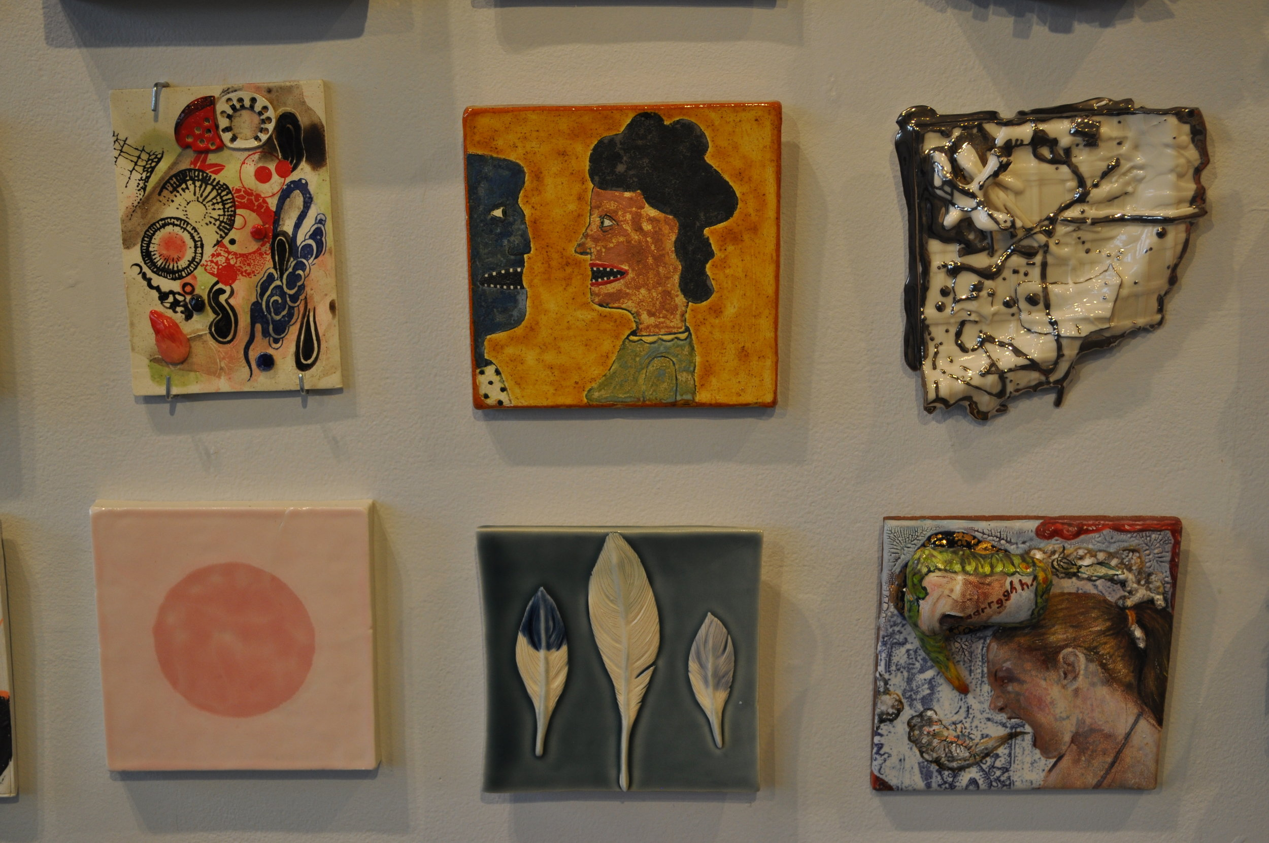 1 .Liz Biddle, Cloud Effect  $80  2. Wesley Anderegg, Tile #1  $200  3. Heather Mae Erickson, Tile: From perfect imperfection collection: Bird   series  $150  4. Ron Geibel,  Pink on pink 2  $150  5.  Kelly O'Sullivan, Feather tile #2 $90  6.  Matthew Nolen  Agressy/Messy  SOLD